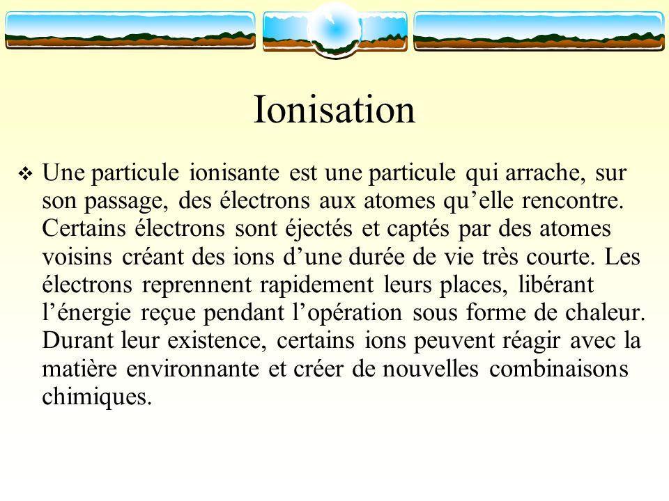 Ionisation Une particule ionisante est une particule qui arrache, sur son passage, des électrons aux atomes quelle rencontre. Certains électrons sont