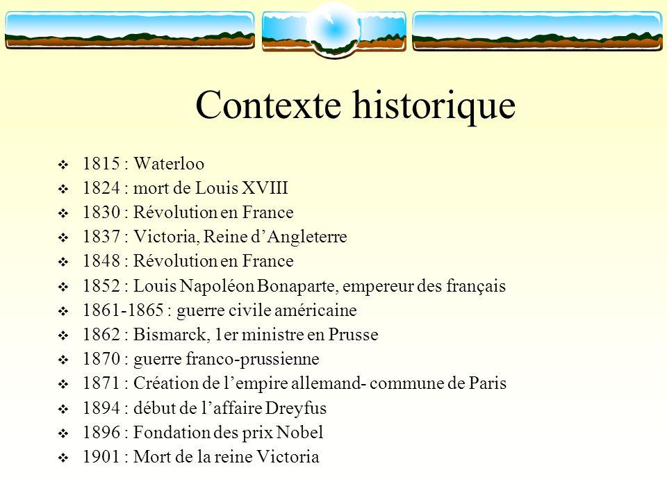 Contexte historique 1815 : Waterloo 1824 : mort de Louis XVIII 1830 : Révolution en France 1837 : Victoria, Reine dAngleterre 1848 : Révolution en Fra