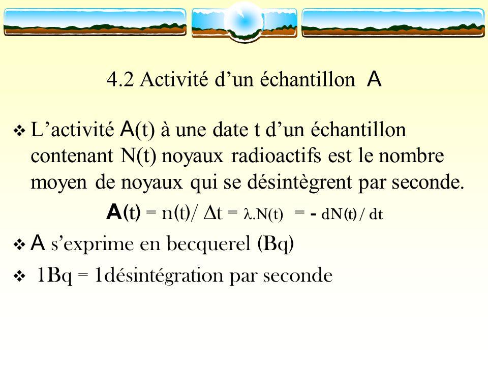 4.2 Activité dun échantillon A Lactivité A (t) à une date t dun échantillon contenant N(t) noyaux radioactifs est le nombre moyen de noyaux qui se dés
