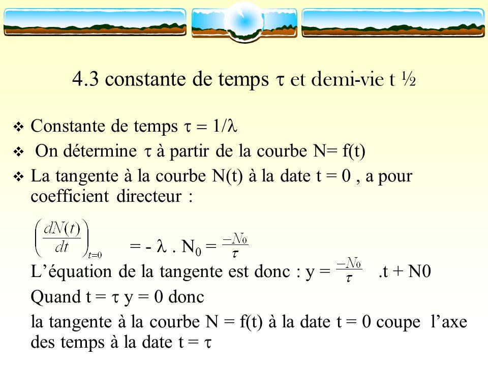 4.3 constante de temps et demi-vie t ½ Constante de temps On détermine à partir de la courbe N= f(t) La tangente à la courbe N(t) à la date t = 0, a p