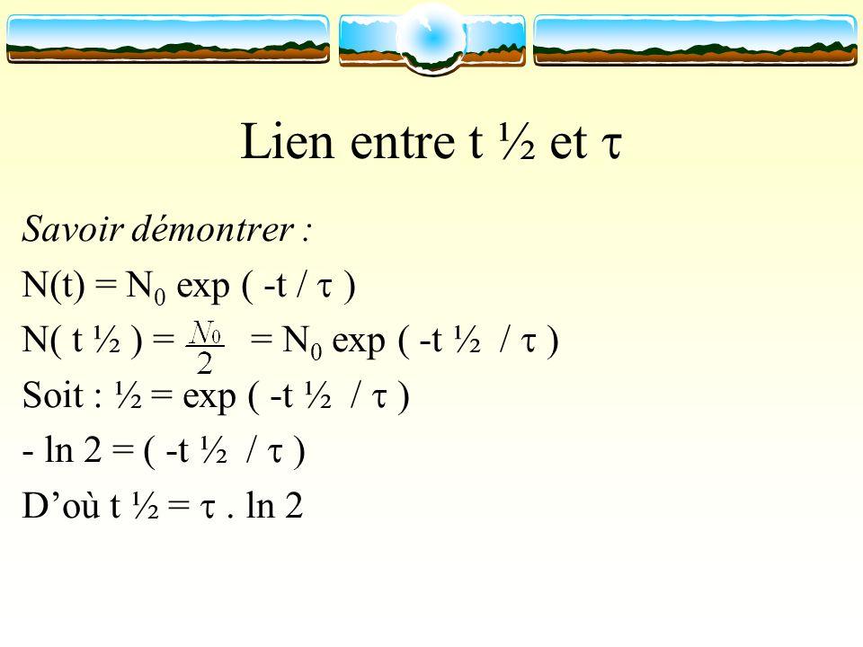 Lien entre t ½ et Savoir démontrer : N(t) = N 0 exp ( -t / ) N( t ½ ) = = N 0 exp ( -t ½ / ) Soit : ½ = exp ( -t ½ / ) - ln 2 = ( -t ½ / ) Doù t ½ =.