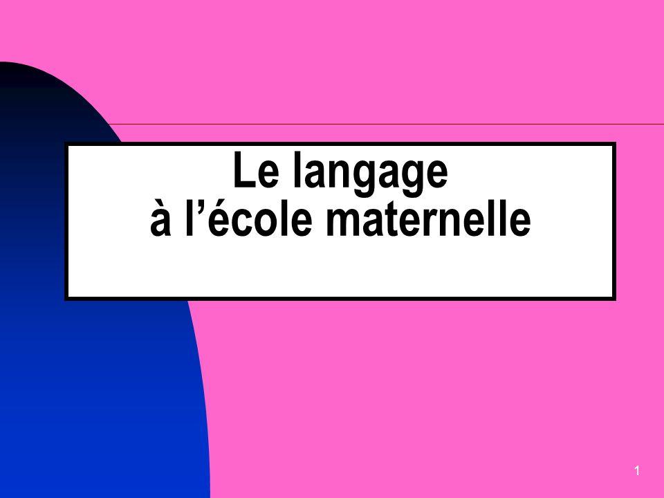 1 Le langage à lécole maternelle