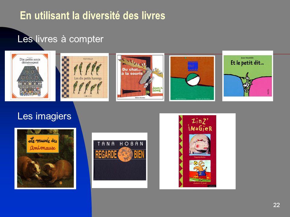 22 En utilisant la diversité des livres Les livres à compter Les imagiers