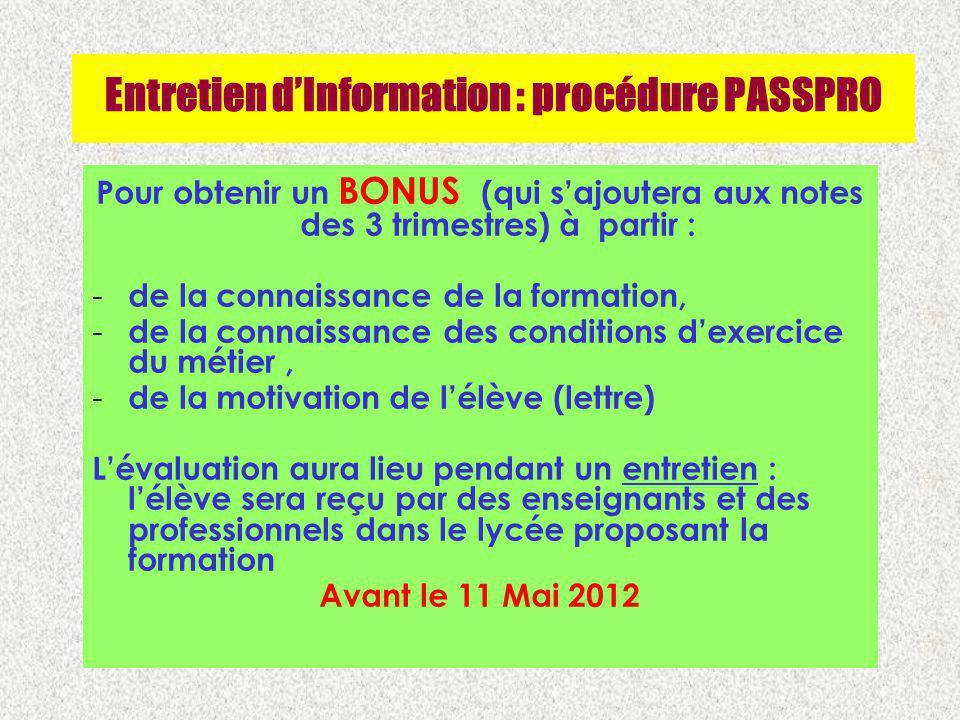 Entretien dInformation : procédure PASSPRO Pour obtenir un BONUS (qui sajoutera aux notes des 3 trimestres) à partir : - de la connaissance de la form