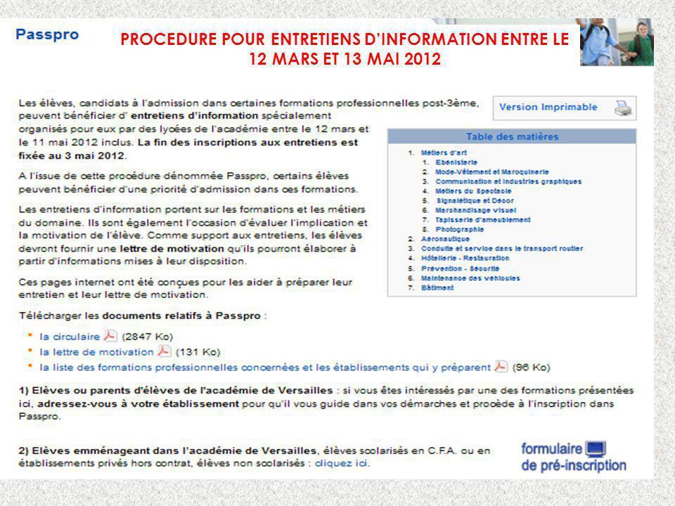 PROCEDURE POUR ENTRETIENS DINFORMATION ENTRE LE 12 MARS ET 13 MAI 2012