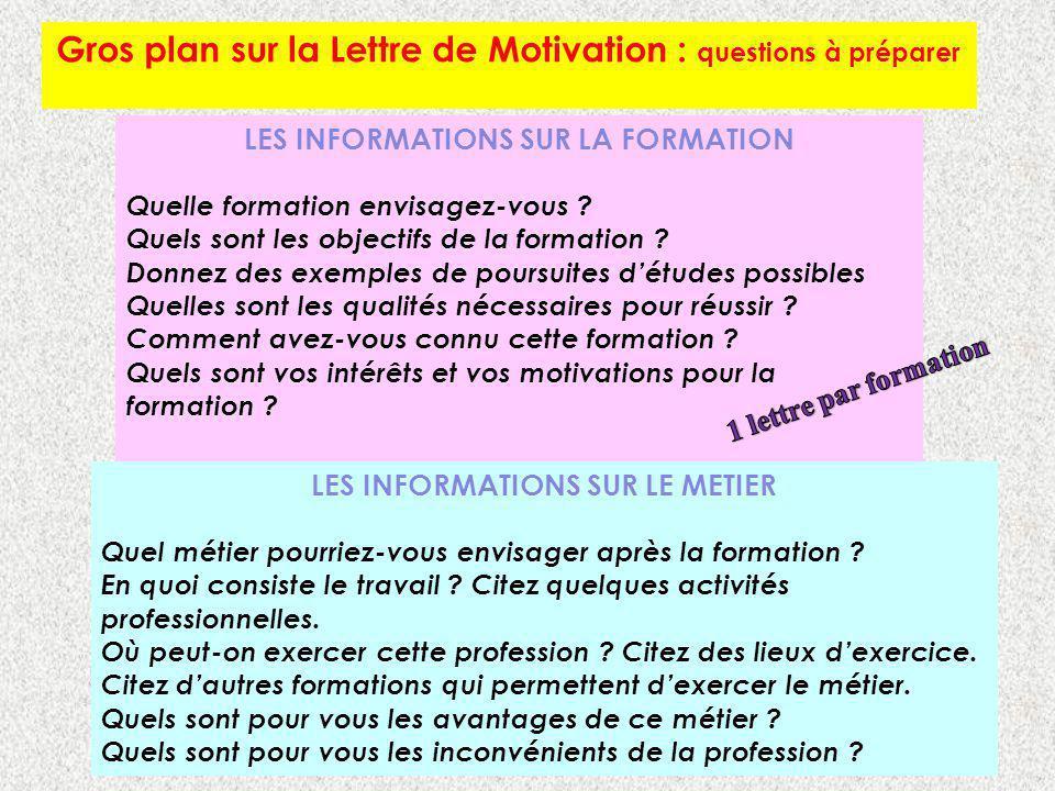 Gros plan sur la Lettre de Motivation : questions à préparer LES INFORMATIONS SUR LA FORMATION Quelle formation envisagez-vous ? Quels sont les object