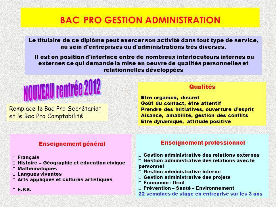 BAC PRO GESTION ADMINISTRATION Le titulaire de ce diplôme peut exercer son activité dans tout type de service, au sein d'entreprises ou d'administrati