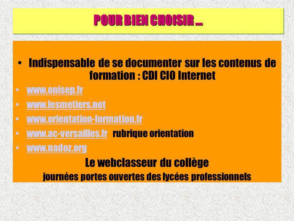 Indispensable de se documenter sur les contenus de formation : CDI CIO Internet www.onisep.fr www.lesmetiers.net www.orientation-formation.fr www.ac-v