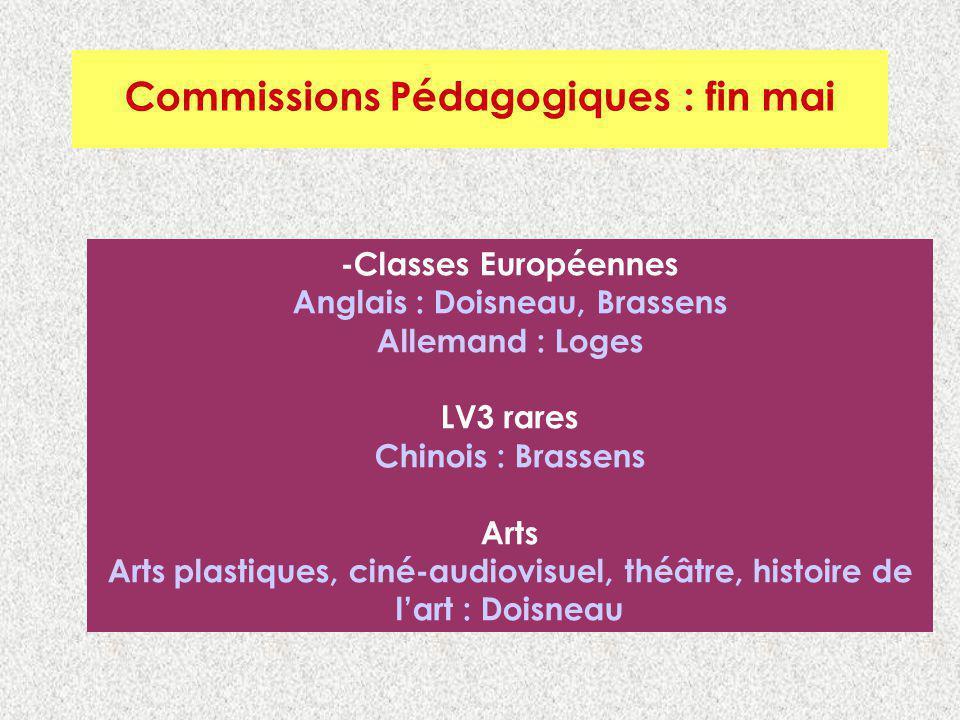 Commissions Pédagogiques : Fin mai Commissions Pédagogiques : fin mai -Classes Européennes Anglais : Doisneau, Brassens Allemand : Loges LV3 rares Chi