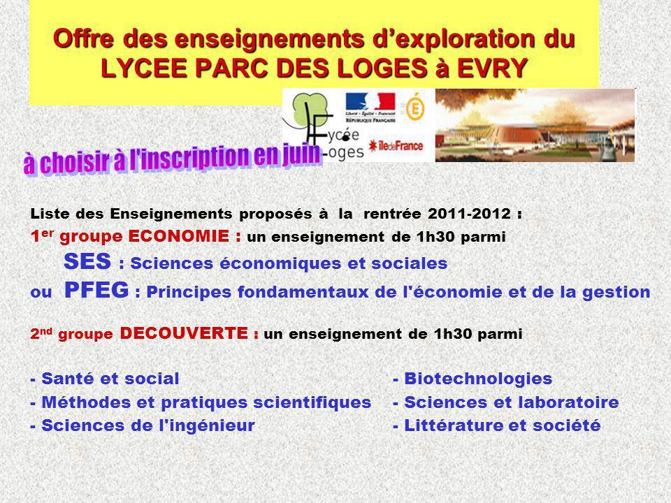 Liste des Enseignements proposés à la rentrée 2011-2012 : 1 er groupe ECONOMIE : un enseignement de 1h30 parmi SES : Sciences économiques et sociales