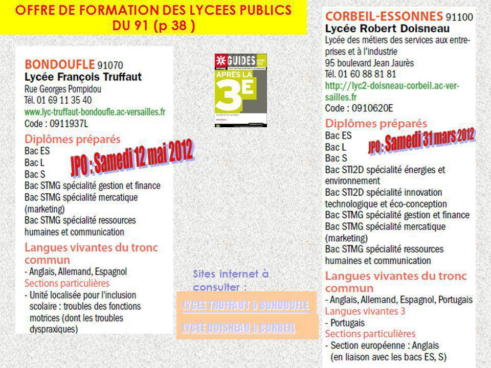 OFFRE DE FORMATION DES LYCEES PUBLICS DU 91 (p 38 ) LYCEE TRUFFAUT à BONDOUFLE LYCEE TRUFFAUT à BONDOUFLE LYCEE DOISNEAU à CORBEIL LYCEE DOISNEAU à CO