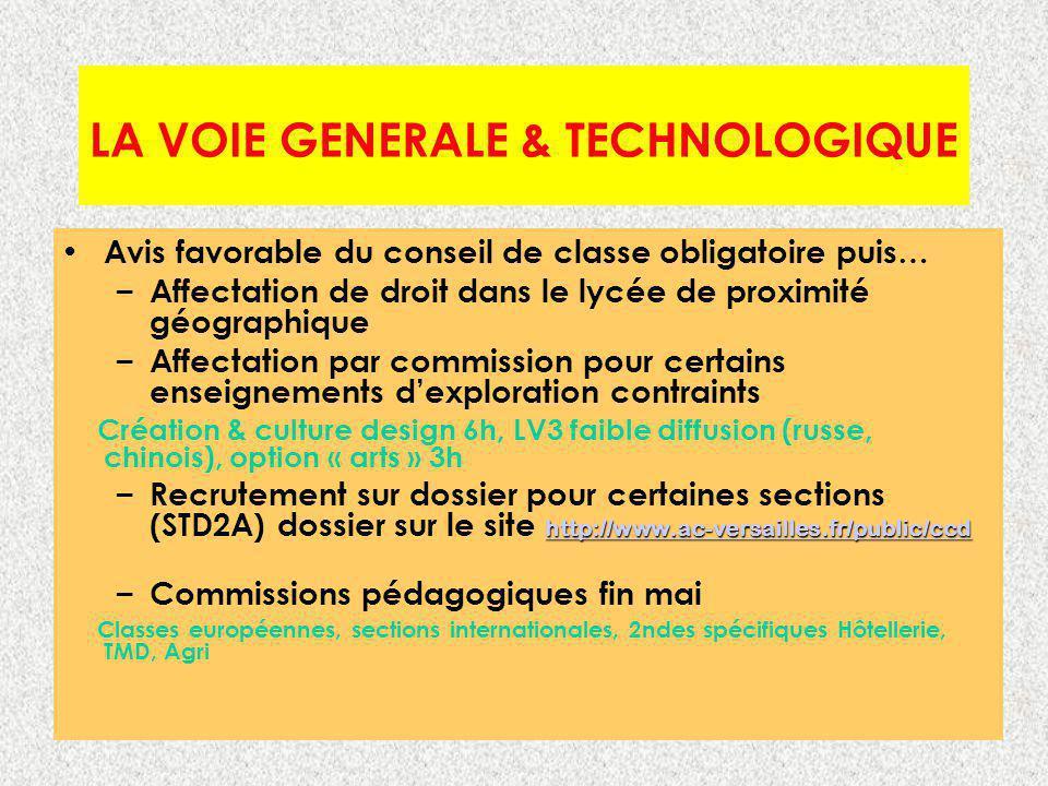 LA VOIE GENERALE & TECHNOLOGIQUE Avis favorable du conseil de classe obligatoire puis… – Affectation de droit dans le lycée de proximité géographique