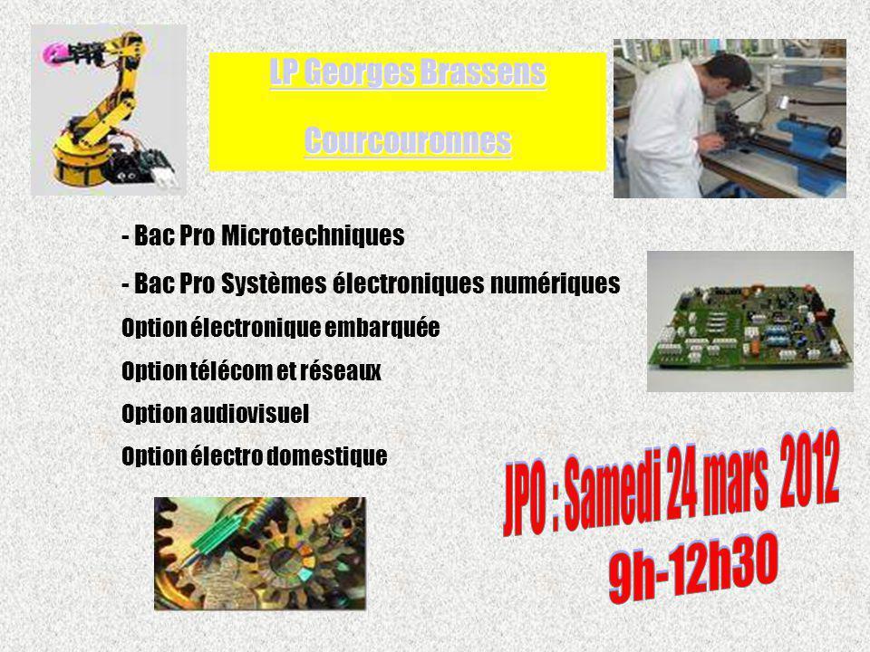 - Bac Pro Microtechniques - Bac Pro Systèmes électroniques numériques Option électronique embarquée Option télécom et réseaux Option audiovisuel Optio