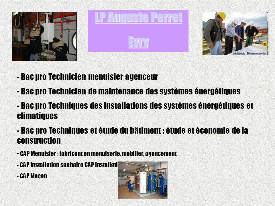 - Bac pro Technicien menuisier agenceur - Bac pro Technicien de maintenance des systèmes énergétiques - Bac pro Techniques des installations des systè