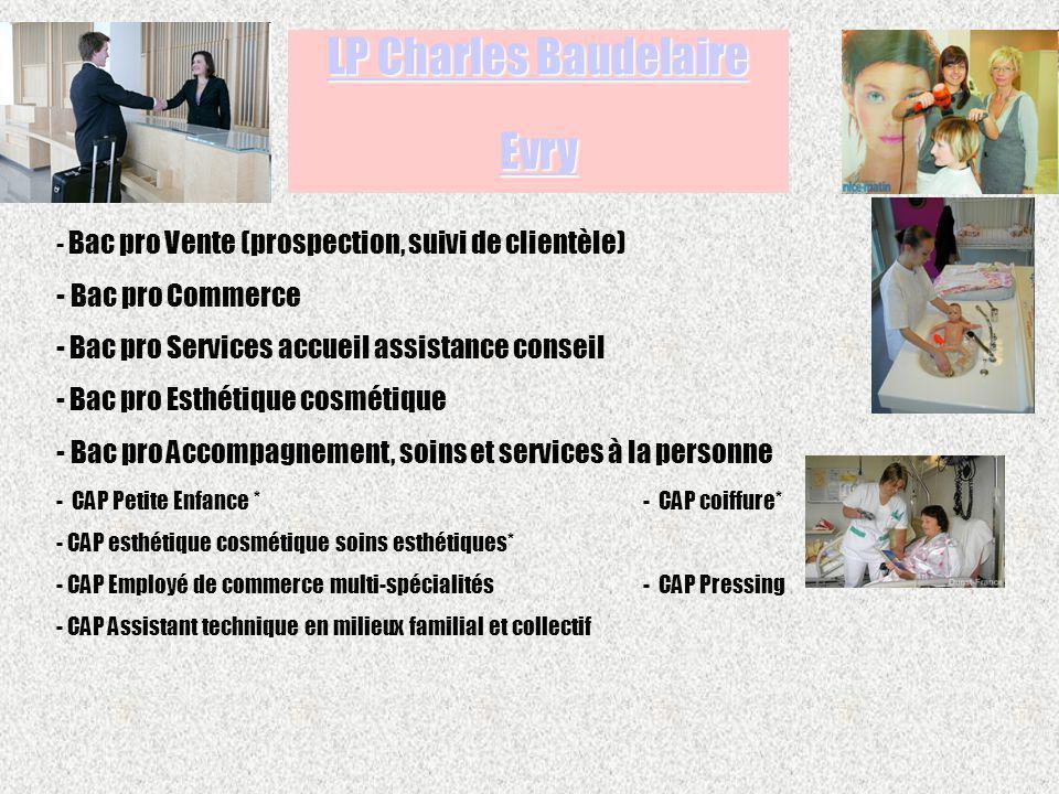 - Bac pro Vente (prospection, suivi de clientèle) - Bac pro Commerce - Bac pro Services accueil assistance conseil - Bac pro Esthétique cosmétique - B