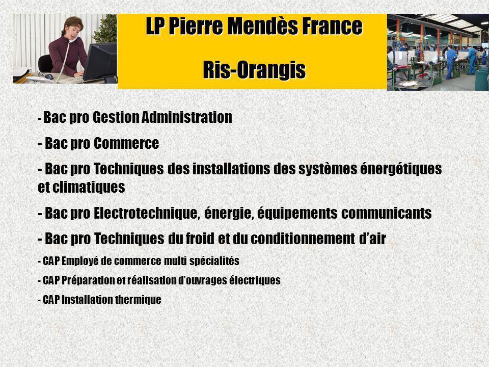 - Bac pro Gestion Administration - Bac pro Commerce - Bac pro Techniques des installations des systèmes énergétiques et climatiques - Bac pro Electrot