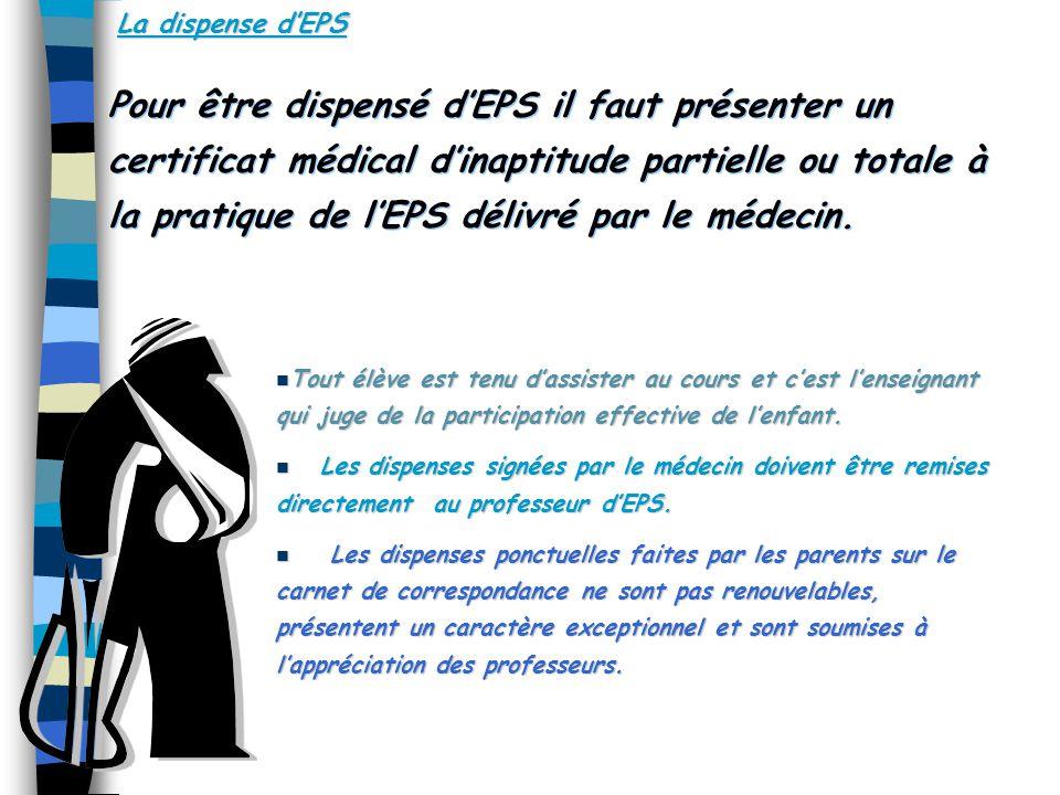 La dispense dEPS Pour être dispensé dEPS il faut présenter un certificat médical dinaptitude partielle ou totale à la pratique de lEPS délivré par le médecin.