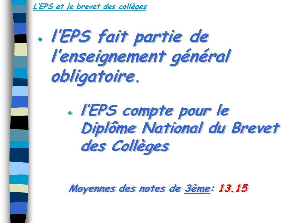 LEPS et le brevet des collèges lEPS fait partie de lenseignement général obligatoire.