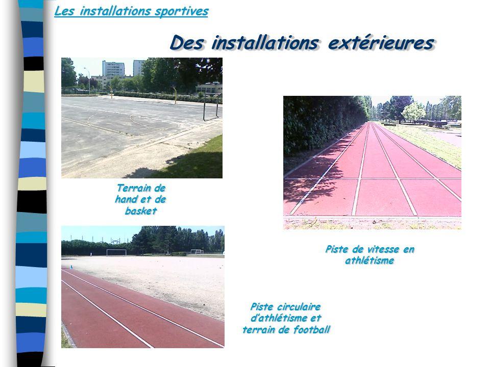 Les installations sportives Des installations extérieures Terrain de hand et de basket Piste de vitesse en athlétisme Piste circulaire dathlétisme et terrain de football