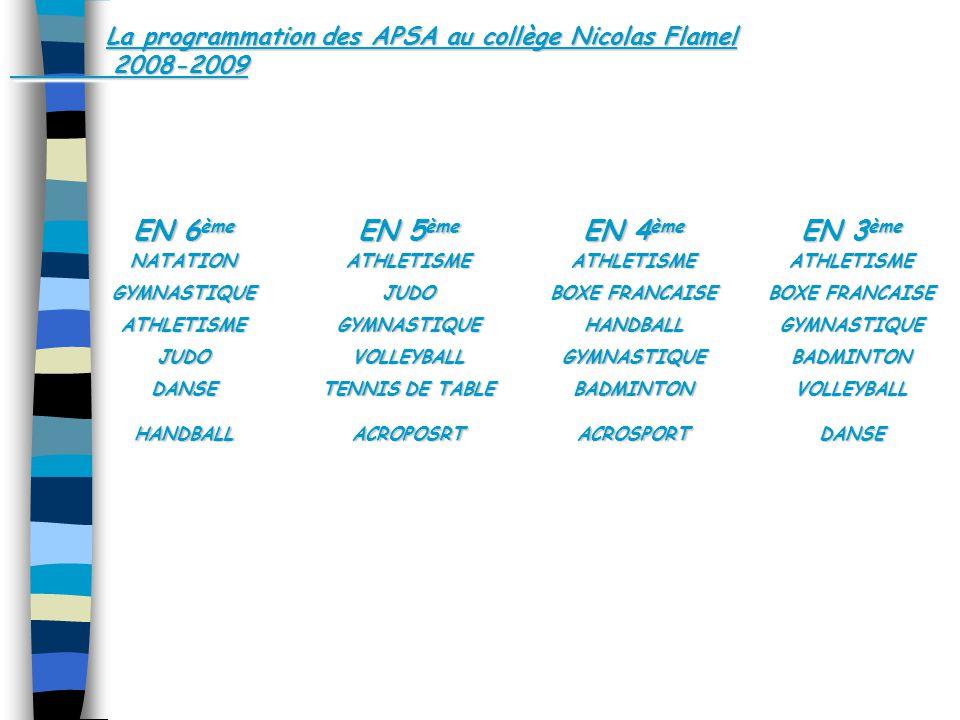 La programmation des APSA au collège Nicolas Flamel 2008-2009 EN 6 ème NATATIONGYMNASTIQUEATHLETISMEJUDODANSEHANDBALL NATATIONGYMNASTIQUEATHLETISMEJUDODANSEHANDBALL EN 5 ème ATHLETISMEJUDOGYMNASTIQUEVOLLEYBALL TENNIS DE TABLE ACROPOSRT EN 5 ème ATHLETISMEJUDOGYMNASTIQUEVOLLEYBALL TENNIS DE TABLE ACROPOSRT EN 4 ème ATHLETISME BOXE FRANCAISE HANDBALLGYMNASTIQUEBADMINTONACROSPORT EN 4 ème ATHLETISME BOXE FRANCAISE HANDBALLGYMNASTIQUEBADMINTONACROSPORT EN 3 ème ATHLETISME BOXE FRANCAISE GYMNASTIQUEBADMINTONVOLLEYBALLDANSE EN 3 ème ATHLETISME BOXE FRANCAISE GYMNASTIQUEBADMINTONVOLLEYBALLDANSE