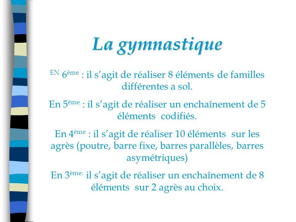 La gymnastique EN 6 ème : il sagit de réaliser 8 éléments de familles différentes a sol.