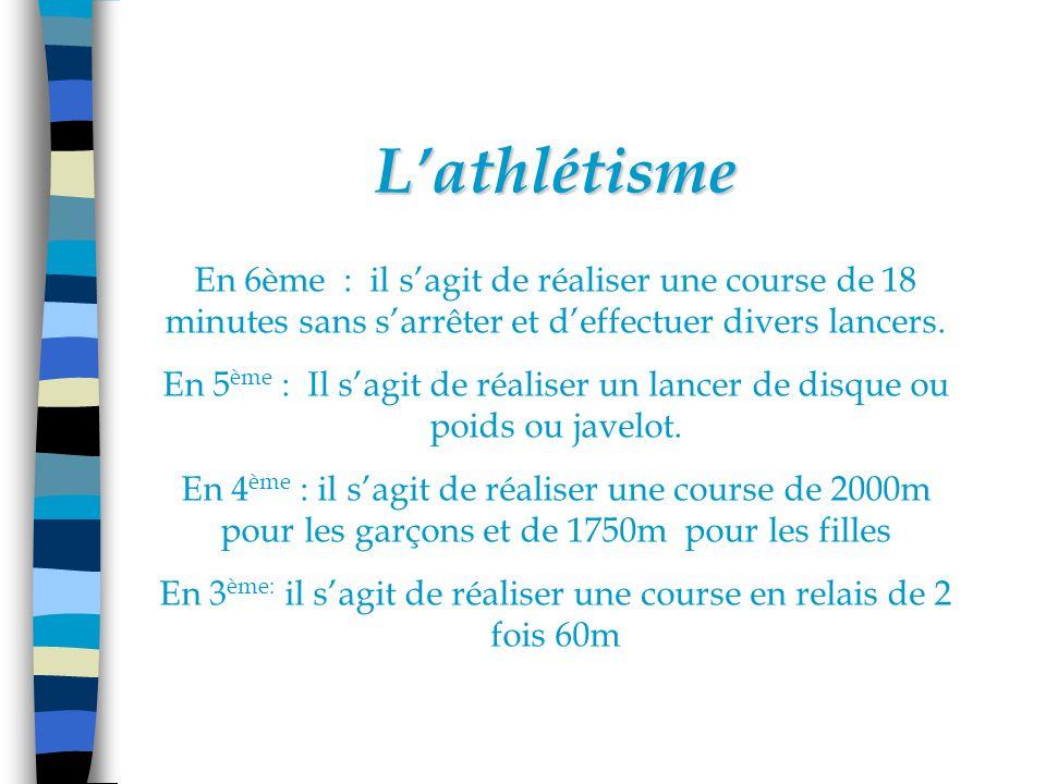 Lathlétisme En 6ème : il sagit de réaliser une course de 18 minutes sans sarrêter et deffectuer divers lancers.
