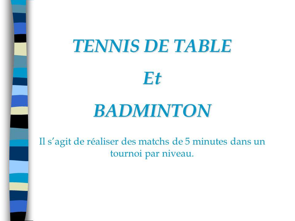 TENNIS DE TABLE EtBADMINTON Il sagit de réaliser des matchs de 5 minutes dans un tournoi par niveau.