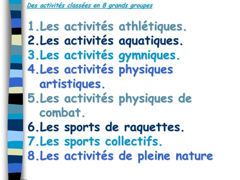 Des activités classées en 8 grands groupes 1.Les activités athlétiques.