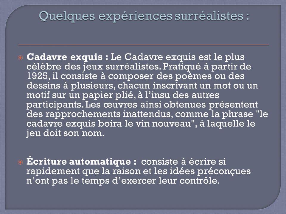 Cadavre exquis : Le Cadavre exquis est le plus célèbre des jeux surréalistes. Pratiqué à partir de 1925, il consiste à composer des poèmes ou des dess