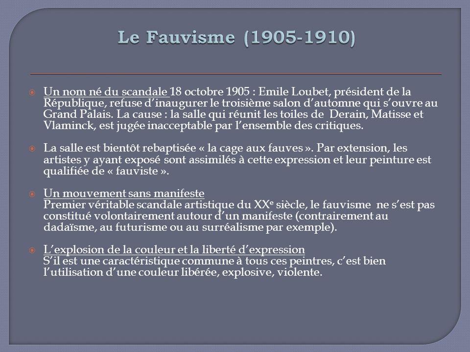 Un nom né du scandale 18 octobre 1905 : Emile Loubet, président de la République, refuse dinaugurer le troisième salon dautomne qui souvre au Grand Pa