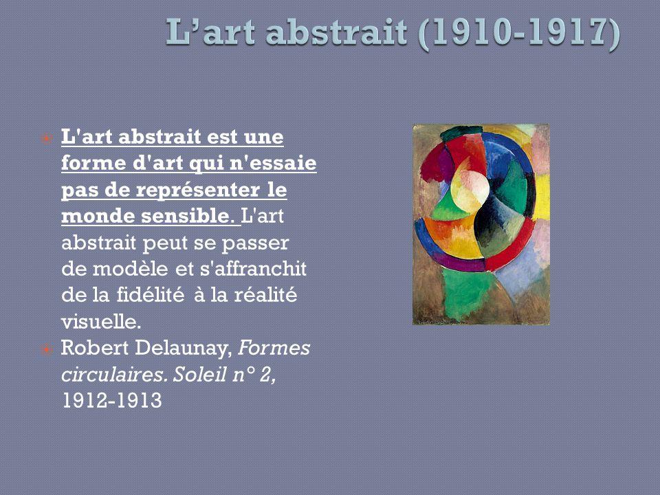 L'art abstrait est une forme d'art qui n'essaie pas de représenter le monde sensible. L'art abstrait peut se passer de modèle et s'affranchit de la fi