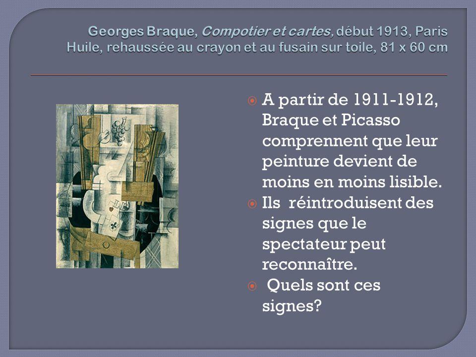 A partir de 1911-1912, Braque et Picasso comprennent que leur peinture devient de moins en moins lisible. Ils réintroduisent des signes que le spectat