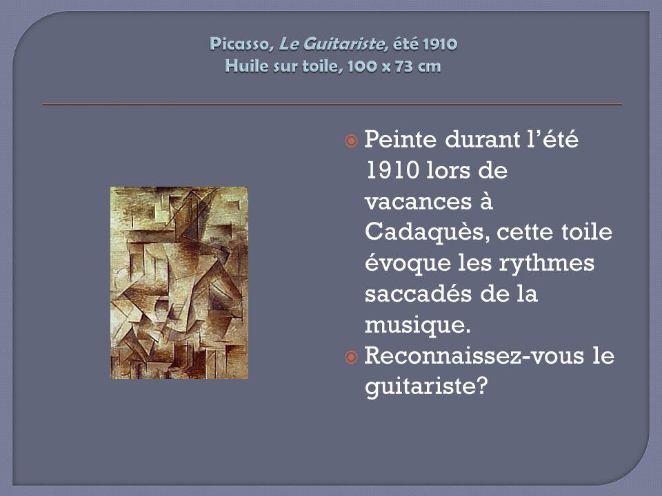 Peinte durant lété 1910 lors de vacances à Cadaquès, cette toile évoque les rythmes saccadés de la musique. Reconnaissez-vous le guitariste?