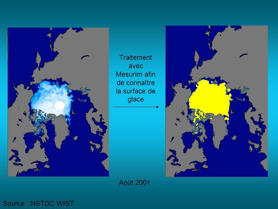 Août 2001 Traitement avec Mesurim afin de connaître la surface de glace Source : NSTDC WIST