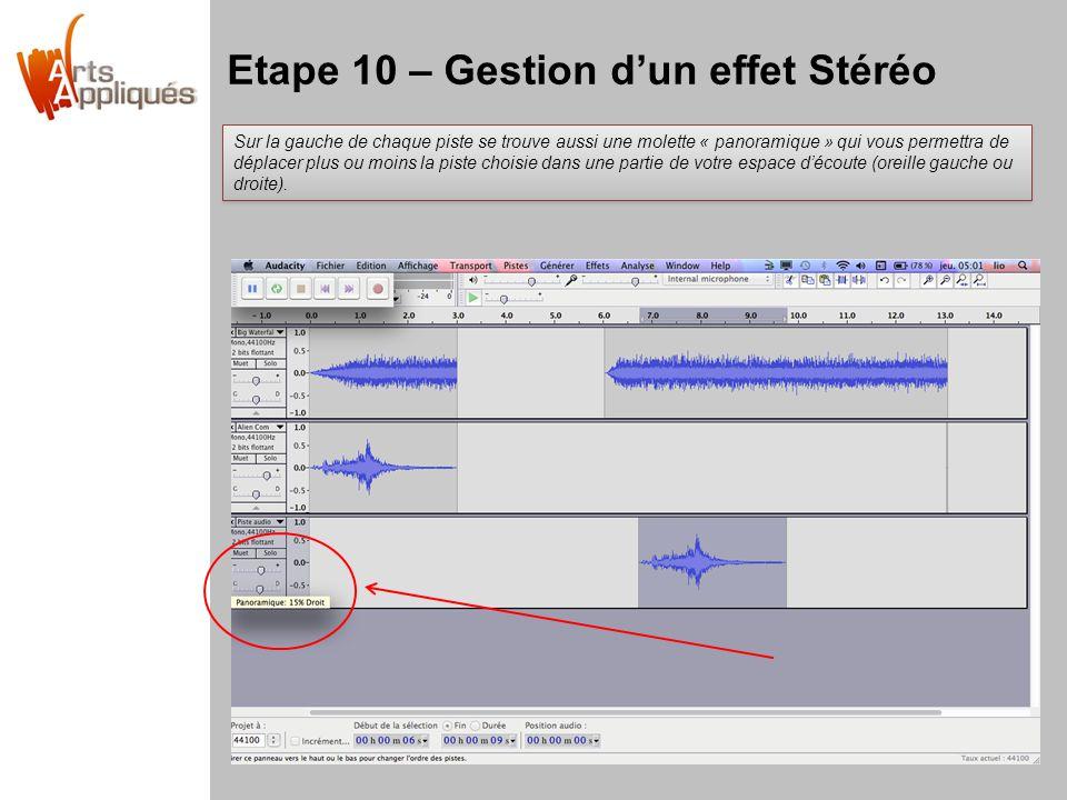 Etape 10 – Gestion dun effet Stéréo Sur la gauche de chaque piste se trouve aussi une molette « panoramique » qui vous permettra de déplacer plus ou moins la piste choisie dans une partie de votre espace découte (oreille gauche ou droite).