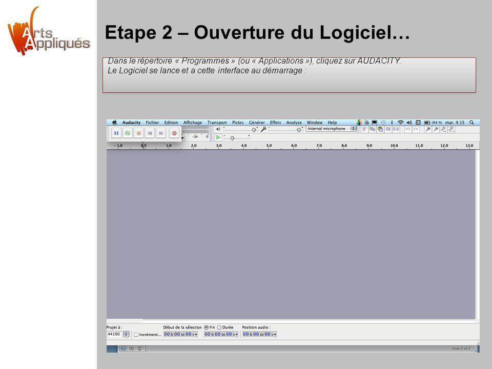 Etape 2 – Ouverture du Logiciel… Dans le répertoire « Programmes » (ou « Applications »), cliquez sur AUDACITY. Le Logiciel se lance et a cette interf