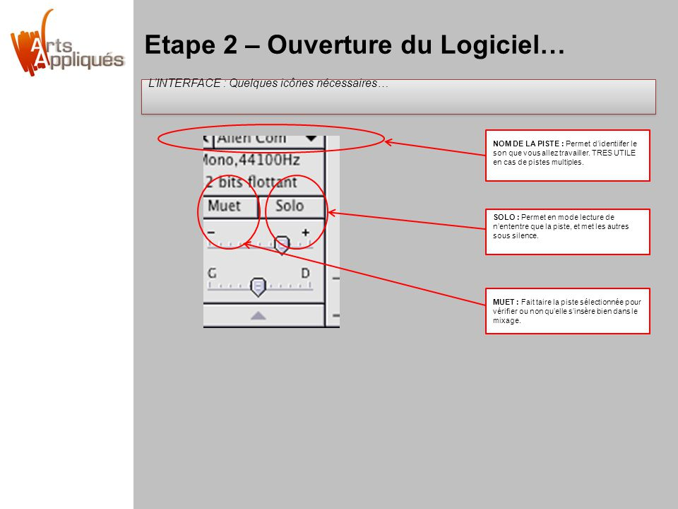 Etape 2 – Ouverture du Logiciel… LINTERFACE : Quelques icônes nécessaires… LINTERFACE : Quelques icônes nécessaires… NOM DE LA PISTE : Permet didentii