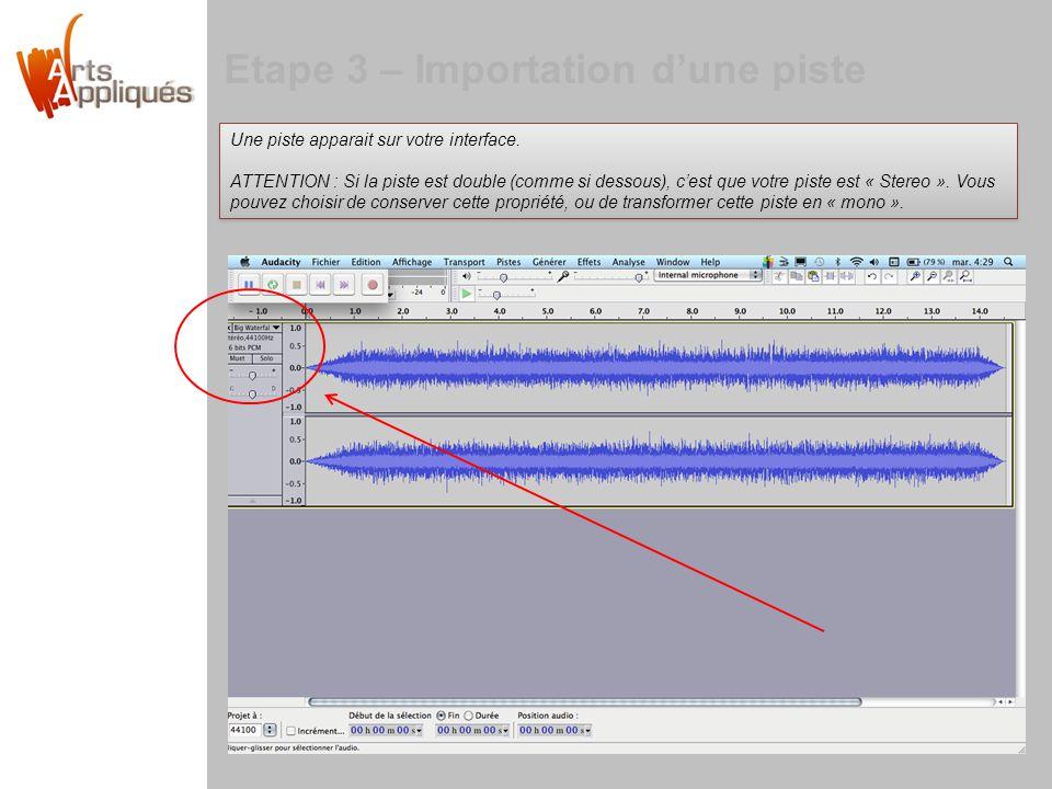 Etape 3 – Importation dune piste Une piste apparait sur votre interface.