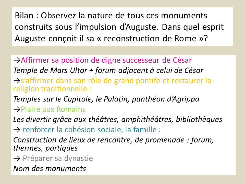 Bilan : Observez la nature de tous ces monuments construits sous limpulsion dAuguste. Dans quel esprit Auguste conçoit-il sa « reconstruction de Rome