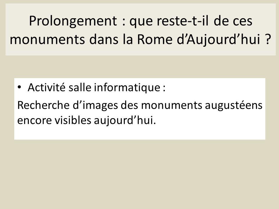 Prolongement : que reste-t-il de ces monuments dans la Rome dAujourdhui ? Activité salle informatique : Recherche dimages des monuments augustéens enc