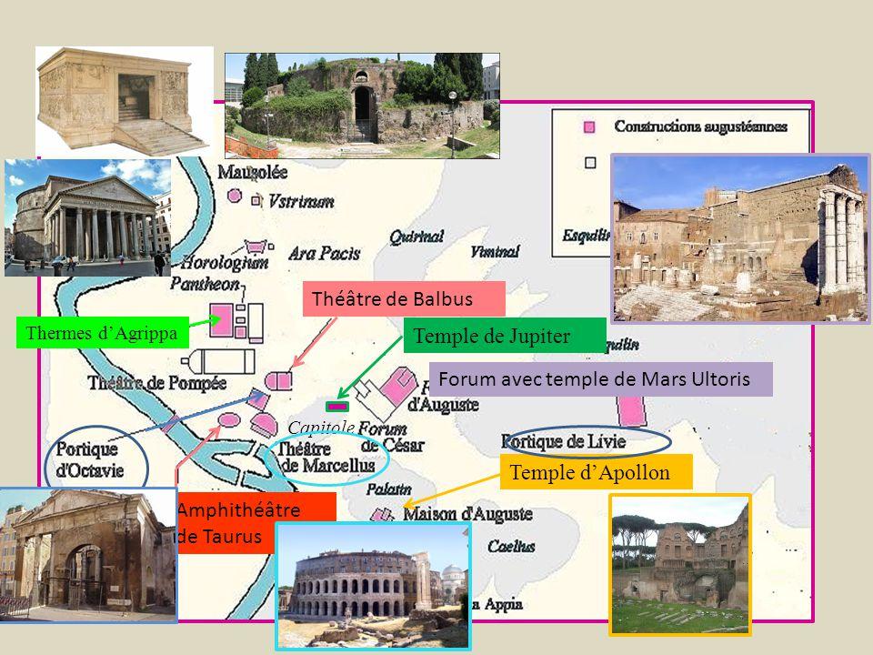 Capitole Temple dApollon Temple de Jupiter Forum avec temple de Mars Ultoris Thermes dAgrippa Théâtre de Balbus Amphithéâtre de Taurus