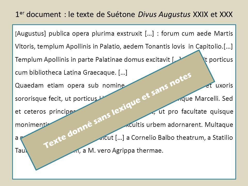 1 er document : le texte de Suétone Divus Augustus XXIX et XXX [ Augustus] publica opera plurima exstruxit […] : forum cum aede Martis Vltoris, templu