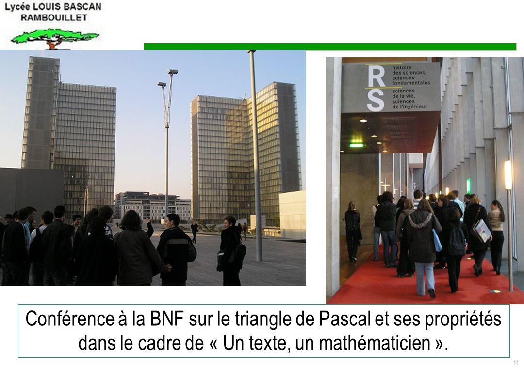 11 Conférence à la BNF sur le triangle de Pascal et ses propriétés dans le cadre de « Un texte, un mathématicien ».