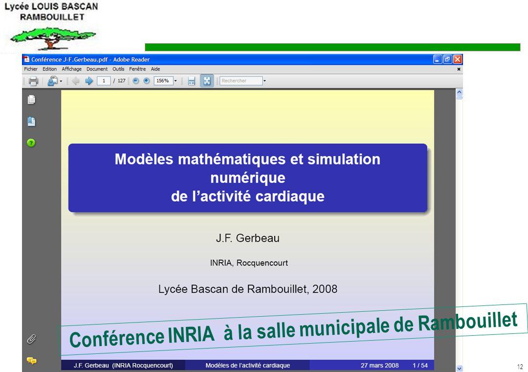 12 Conférence INRIA à la salle municipale de Rambouillet