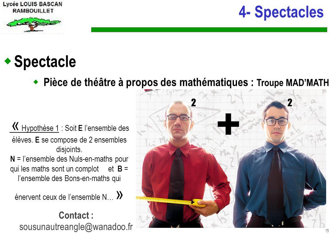 15 4- Spectacles Spectacle Pièce de théâtre à propos des mathématiques : Troupe MADMATH « Hypothèse 1 : Soit E lensemble des élèves.