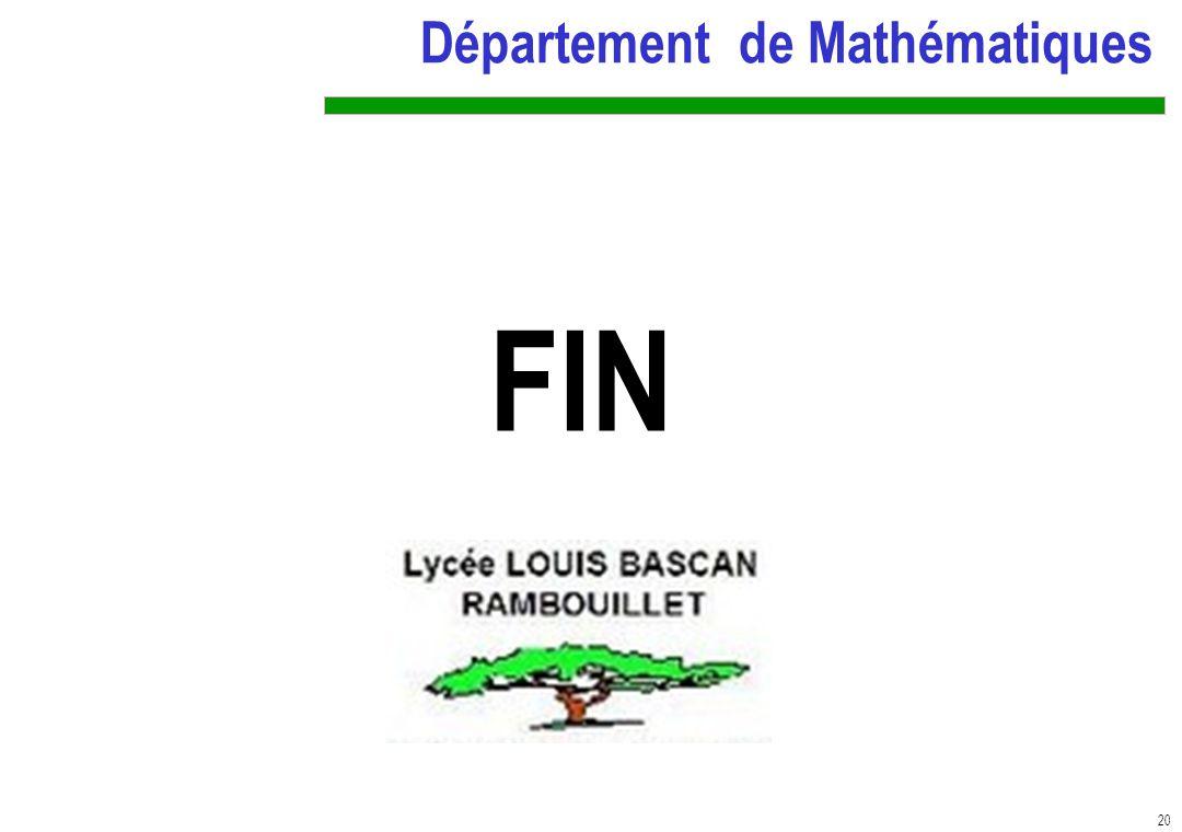 20 Département de Mathématiques FIN N
