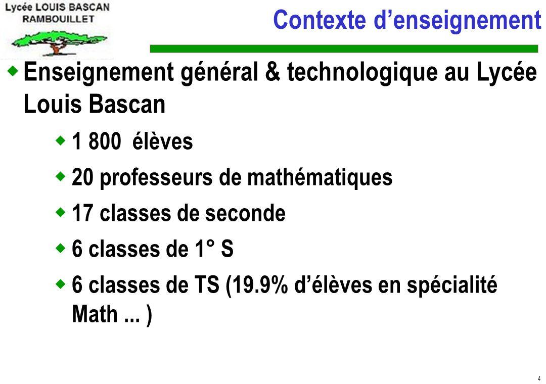 4 Enseignement général & technologique au Lycée Louis Bascan 1 800 élèves 20 professeurs de mathématiques 17 classes de seconde 6 classes de 1° S 6 classes de TS (19.9% délèves en spécialité Math...