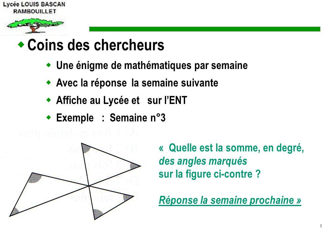 9 Information sur des sites internet Exemples : http://euler.ac-versailles.fr ( site académique de mathématiques) http://www.lyc-bascan-rambouillet.ac-versailles.fr.