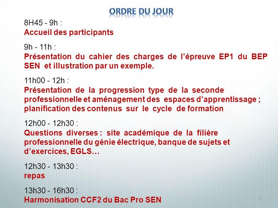 2 8H45 - 9h : Accueil des participants 9h - 11h : Présentation du cahier des charges de lépreuve EP1 du BEP SEN et illustration par un exemple.