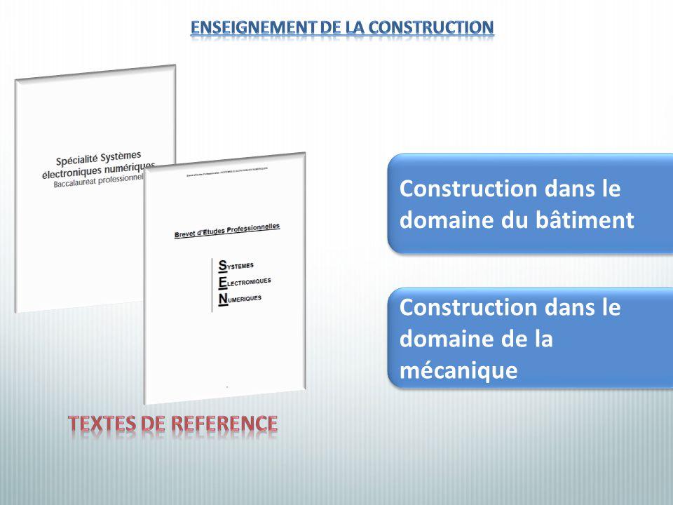 Construction dans le domaine de la mécanique Construction dans le domaine du bâtiment